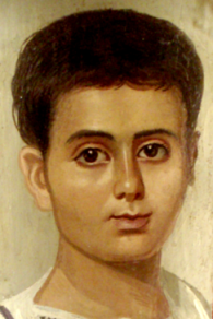 Beautiful young boy, from an ancient coffin portrait
