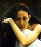 Painting of a desolate young woman