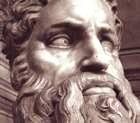 Detail of the head of Moses, statue by Michelangelo