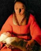 Woman with newborn baby, from a painting by George de la Tour