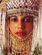 Young Middle Eastern woman dressed for a wedding celebration