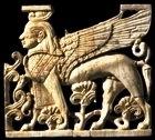 Ivory carving similar to ones used to decorate furniture and walls in the Ivory Palace at Samaria