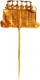 Gold pin for fastening clothing