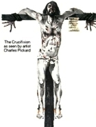 B/W drawing by Pickard of a crucified man