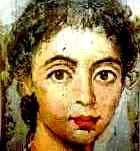 Painting of a beautiful young woman, from the Fayum coffin portraits