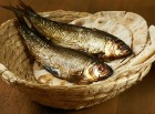 Miracle of the loaves and fishes: two fish in a basket