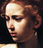 Judith, in a painting by Caravaggio