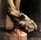 Detail of the painting of the Crucifixion by Matthias Grunewald