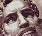 Detail of Michelangelo's marble statue of Moses