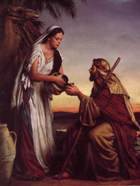 Rebecca offers water to the weary travellers