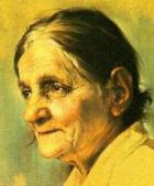 Painting of an elderly woman