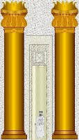 Golden columns at the entrance to the great Temple of Jerusalem