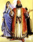 Richly dressed man and woman from ancient times