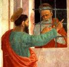 Paul visits Peter in prison, painting detail